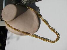 ANTIQUE VTG. CITRINE GOLD FOIL GLASS ODD SHAPE BEAD KNOTTED NECKLACE OLDER CLASP