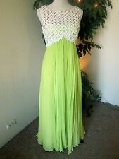 1960 Vintage sleeveless Evening Gown Fluorescent green with lace & sequence 4-6