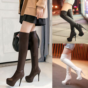 Women Faux Leather High Heel Stiletto Shoes Over Knee Thigh High Sexy Slim Boots