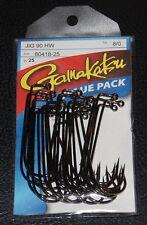 25 Pack Gamakatsu 60418-25 NS Black 90 Degree Heavy Wire Jig Hooks Size 8/0