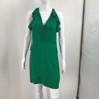 Diane Von Furstenburg Womens Shift Dress Green Stretch Ruffle Tie Sleeveless 4