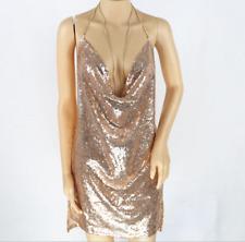 Women Ladies Backless Sequin Dress Kendall Chain Choker Slip mini Dress