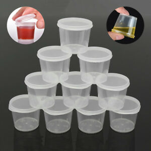 30pcs 35ml Plastic Hinged Lid Sauce Container Soup Storage Cups Box Takeaway Pot