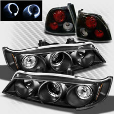 For 94-95 Honda Accord Twin Halo Projector Headlights+Tail Lights Lamp Pair New