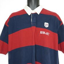 Vintage 90s Bugle Boy Rugby Polo Shirt Red Navy Blue Stripe XL