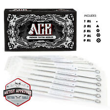 50 Mixed Assorted Sterile Tattoo Needles 6 Sizes - Round Liner 1 3 5 7 9 11 RL