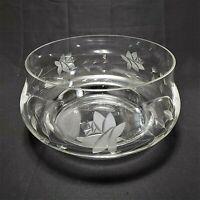 "Vintage Cut Crystal Serving Bowl Etched & Cut 10"" Floral Centerpiece Unsigned"