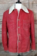 VTG 70s Red Denim Sherpa-Lined Button-Down Coat by Robert Lewis Idea Sz 42 Large