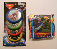 "SUPERMAN 36"" INFLATABLE MALLET & SUPERMAN FLYING MINI DISC 4 Pack MIP"