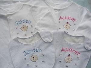 Personalised sleepsuit and bib set  - boy or girl - cute baby design