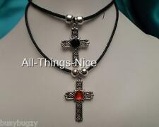 Silver Plated 30mm CRUCIFIX CROSS Hearts Pendant Necklace Bead Insert Jewellery
