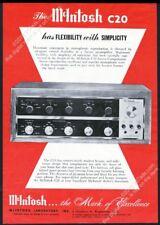 1960 McIntosh C20 stereo preamp photo vintage print ad