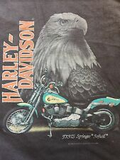 VINTAGE 1991 3D Emblem Harley Davidson T-Shirt USA Men's 50/50 FT. WORTH TEXAS L