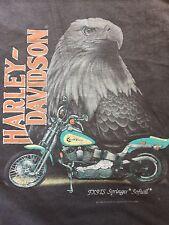 VINTAGE 1991 3D Emblem Harley Davidson T-Shirt USA Men's 50/50 FT. WORTH TEXAS L