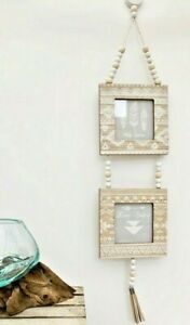 Boho Hanging Wooden Photo Frame Rustic Mandala Style Double Picture Home Decor