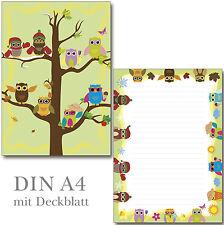 Schreibblock Eulen Vierjahreszeiten A4  25 Blatt Briefpapier Motivpapier Block