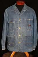 VERY RARE VINTAGE 1950'S  BURLINGTON OVERALL COTTON DENIM JACKET SIZE LARGE