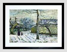 PAINTING LANDSCAPE PISSARRO EFFECTS SNOW MONTFOUCAULT FRAMED ART PRINT B12X12690