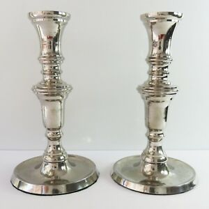Vintage Silverplate Pair of 2 Candle Tapered Candlestick Holders, Sturdy Heavy
