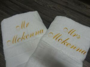Personalised Bath Towel - set 2   - Diff colours Beautifully Embroidered Gift