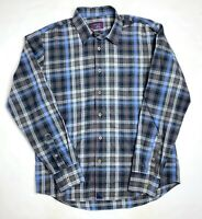 Untuckit Mens Medium Blue Gray Plaid Longsleeve Shirt 100% Cotton