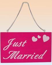 Holz Schild Just married zum Aufhängen pink Hochzeit Junggesellenabschied Heirat