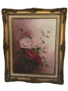 Antique Vintage Rose Oil Painting  Signed …P. Moss