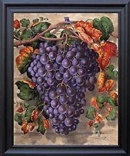 Black Grape Still Life Fruit Kitchen Wall Decor Art Black Framed Picture (19x23)