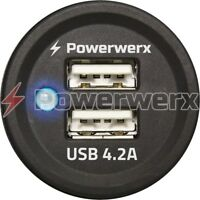 Powerwerx PanelUSB-Plus Panel Mount Dual USB 4.2A Device Charger for 12/24V Sys