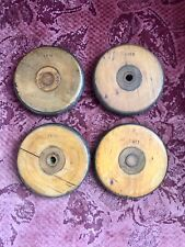 Vintage Set of 4 Wooden Coasters Made From Industrial Textile Bobbin Spool Reel