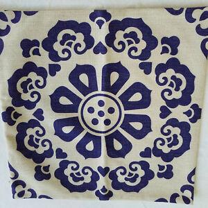 """3 Burlap/Linen/Hessian Navy & Oatmeal Throw Pillow Covers Zipper 16.5"""" NWOT"""