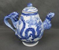 Antique 1723-1735 Yongzheng Period Chinese Porcelain Dragon Teapot Marked