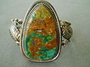 MIKE PLATERO Native American Dark Royston Turquoise Sterling Silver Bracelet
