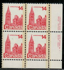 Canada #715 14¢ Houses of Parliament LR Plate #1 Block MNH