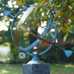 sonnenuhr aus bronze gartendeko terrassendeko skulptur gartenuhr landhaus 55cm