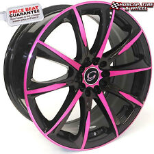 "G-Line 1026 17""x7.5 Black Pink Accents Custom Wheels Rims (x 4) FREE SHIPPING"