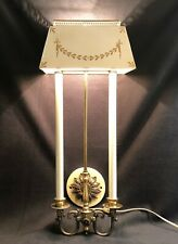 Vintage Tole Toleware Mid Century Modern Tall Ivory Gold Wall Sconce Lamp Light