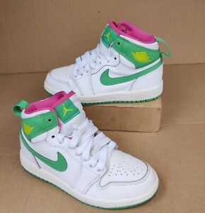 Nike Jordan 1 Retro High Girls Size 11C White Gamma Green Vivid Pink 705321-134
