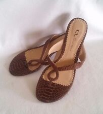 CL by Laundry Sz 7M Womens Brown Faux Snakeskin Low Heeled Thong Sandals