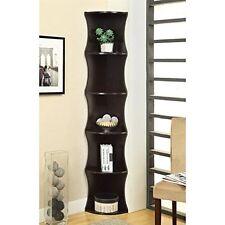 Coaster Furniture Bookcases Casual Corner Shelf Vertical Bookshelf Cappuccino