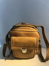 Vintage Marsand Beige Camera Bag Navy Blue Interior Cross Body front pouch VGUC
