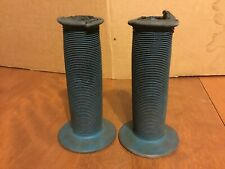"Vintage 7/8"" Bike Handlebar Grips Blue Rubber Ribbed BMX ATV Throttle"