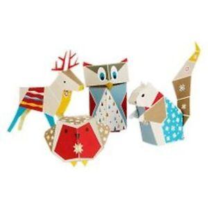 Mibo Forest Folk MYO Paper Christmas Decorations x4 robin reindeer owl squirrel