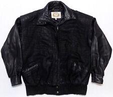 Overland Sheepskin Co Taos New Mexico Black Leather Jacket Womens Size 6 Medium