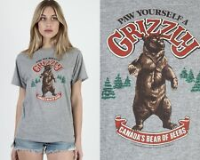 Vintage 80s Grizzly Canadian Beer Bear Heather Grey Triblend Rayon Tee T Shirt