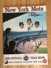1969 NEW YORK NY METS YEARBOOK 1989 REPRINT SIGNED BY 6 PLAYERS SWODODA SHAMSKY