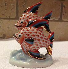 Herend Figurine- Pair of Fish-  Rust Fishnet