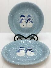 Target Home WINTER FROST Set / 2 Salad Plates Blue White TWO SNOWMEN Christmas