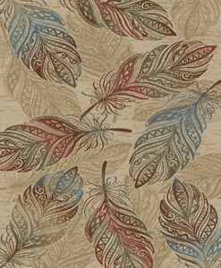 Feather Area Rug Runner Lodge Cabin Native American Southwestern Indian Beige