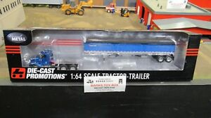 DCP#33547 BLANK BLUE IH 9200 SEMI DAY CAB TRUCK & WILSON GRAIN TRAILER 1:64/CL